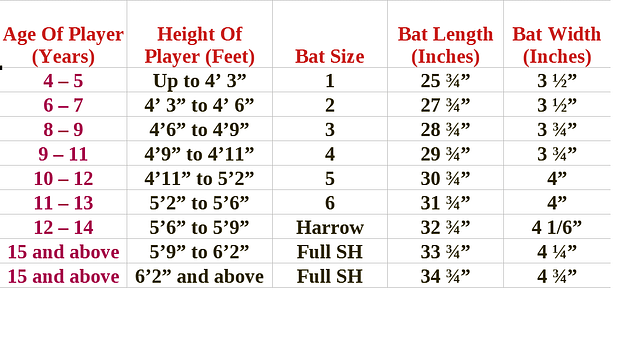 Cricket bat size price